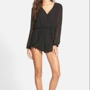 ASTR the Label Lace trim long sleeve shorts romper